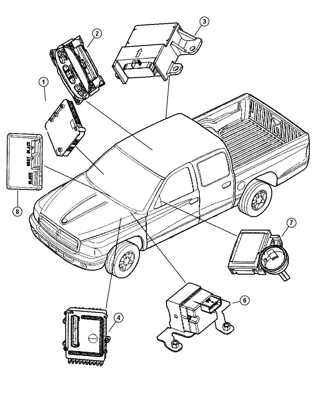 2002 Dodge Dakota Module  Used For  Time And Alarm