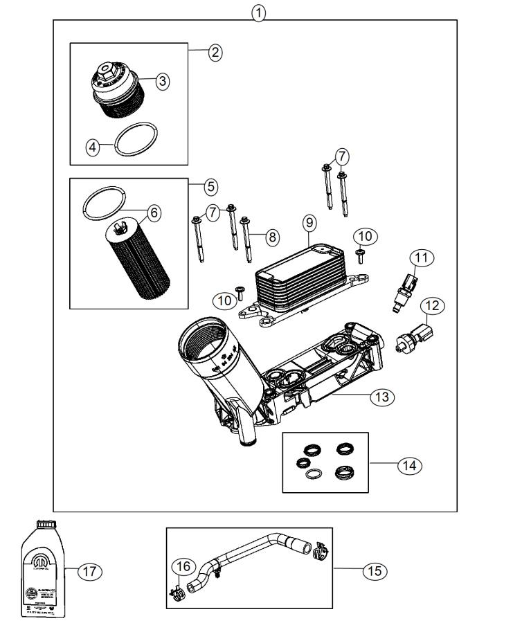 2015 Jeep Wrangler Adapter  Engine Oil Filter  Important
